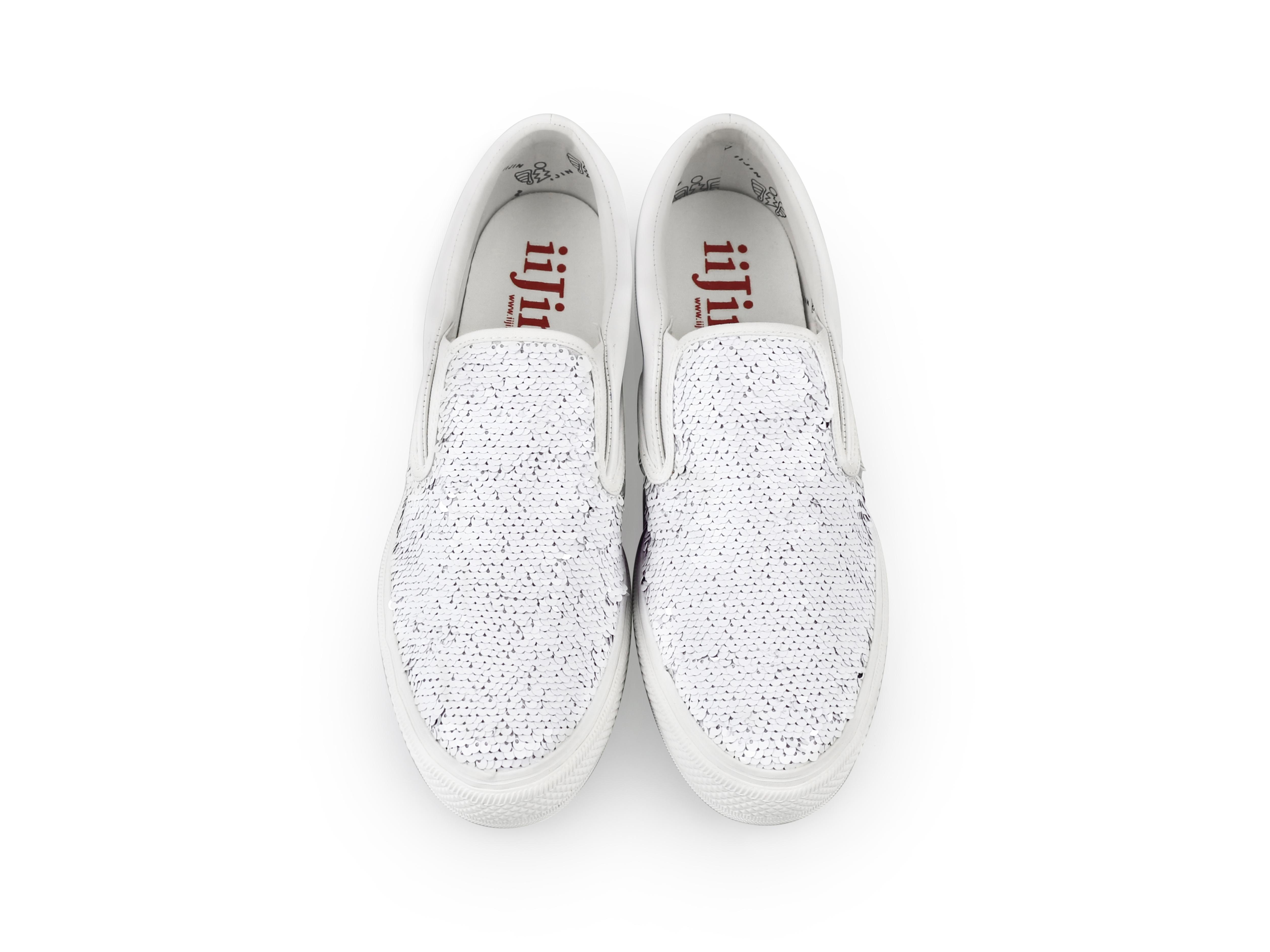 white sequined s slip on iijin tennis shoes
