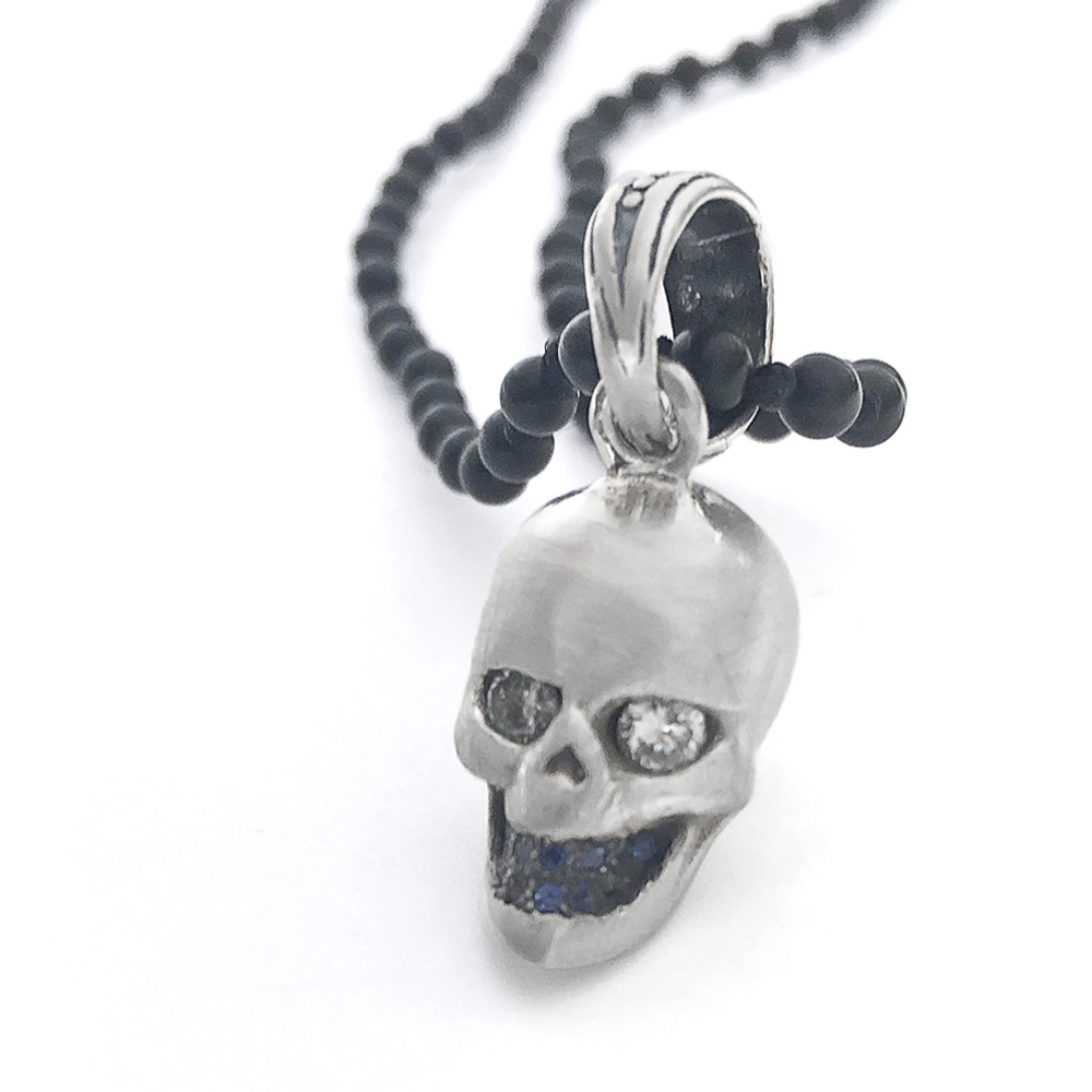 Diamond & Sapphire Silver Skull Men s Pendent Necklace