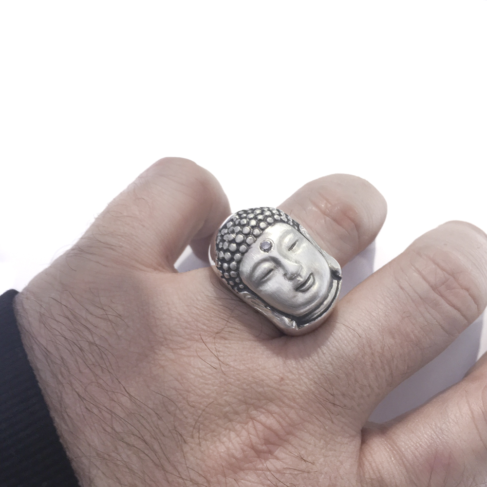 limited edition handmade sterling silver buddha ring