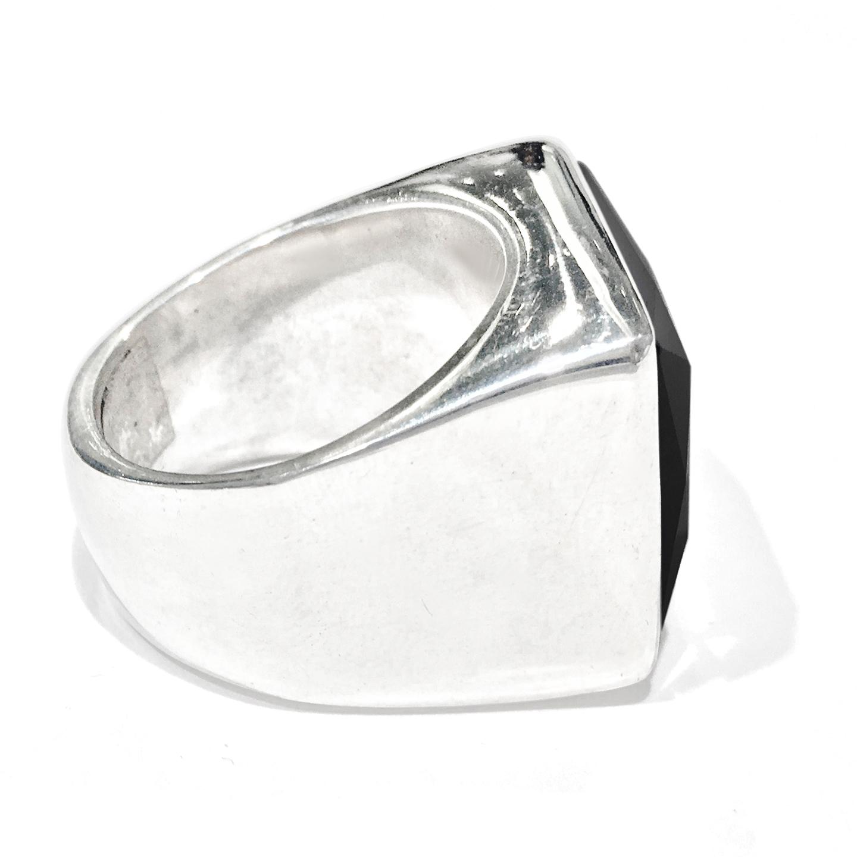 silver black onyx s designer ring