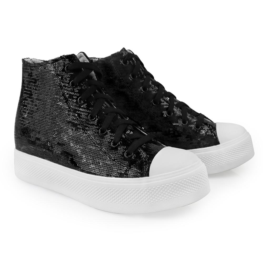 s black sequined high top iijin tennis shoes