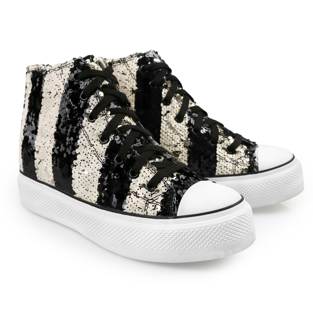 s black white sequined high top iijin tennis shoes