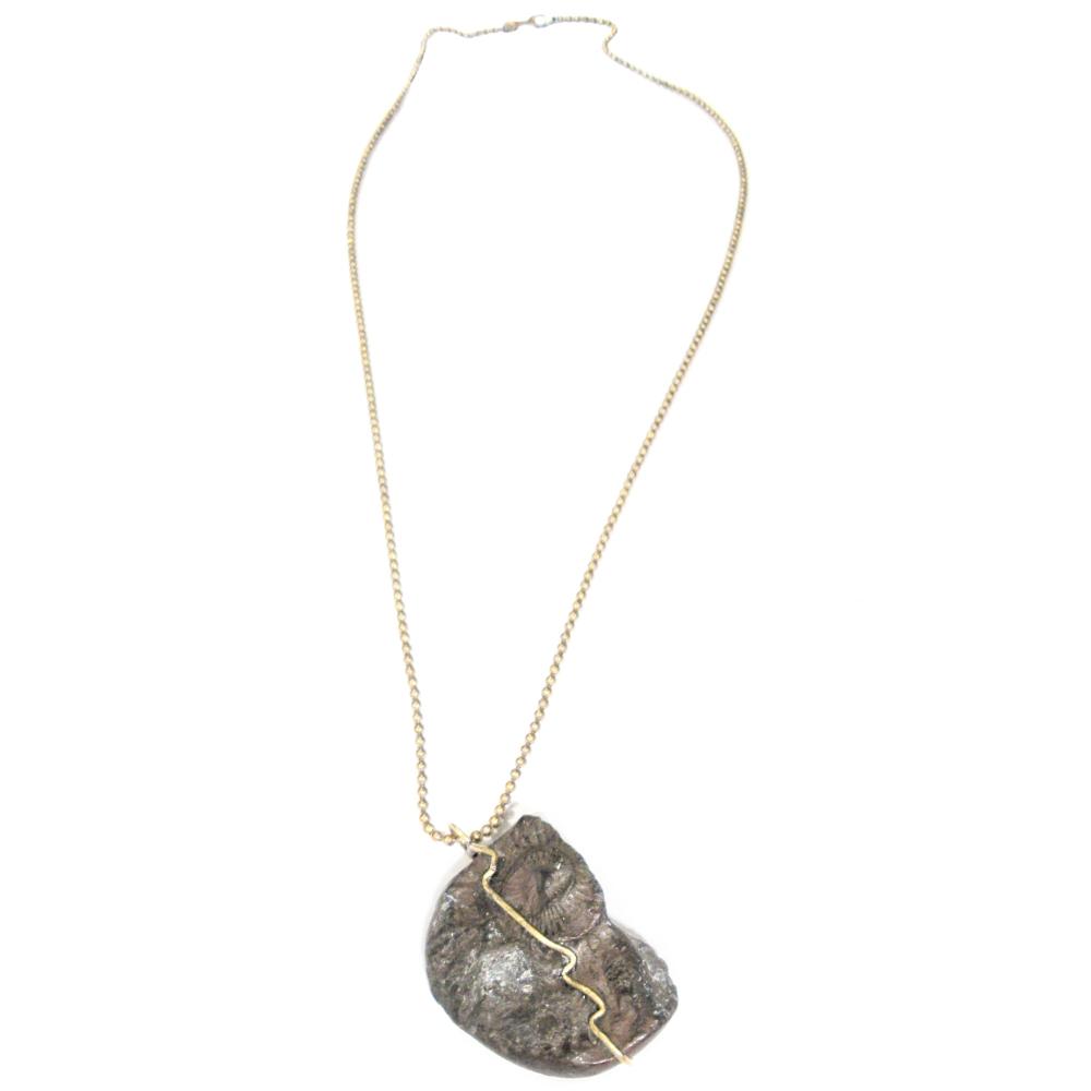 bronze fossil pendant s necklace