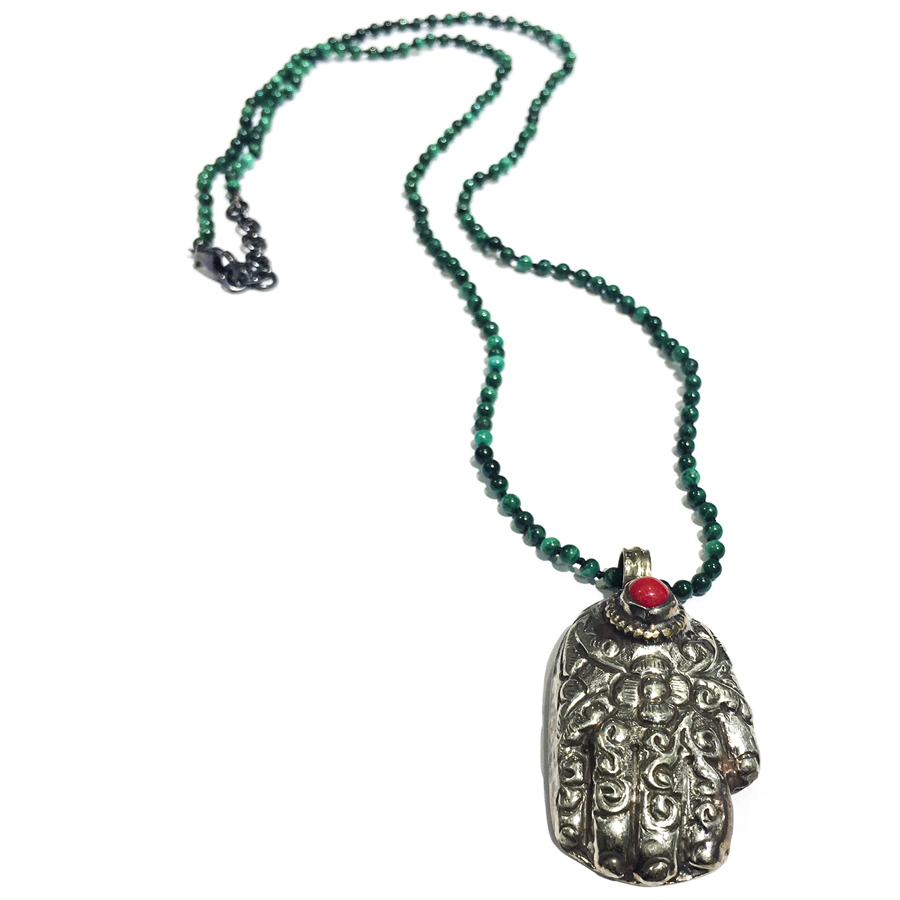 coral of god pendant on malachite sterling silver