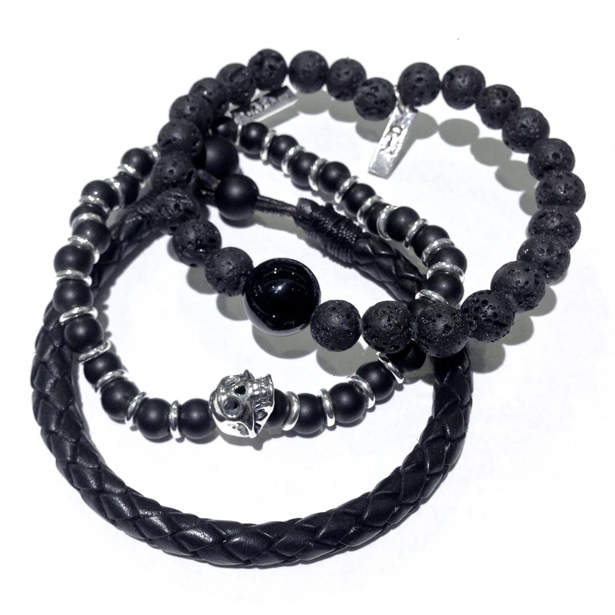 Lava, Leather & Onyx Men's Stacked Bracelets