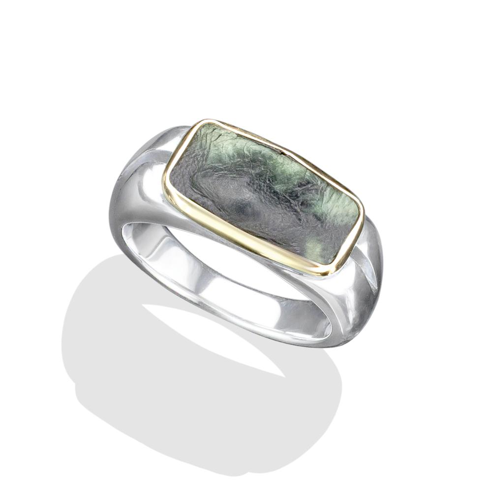 18k gold genuine crocodile leather silver ring
