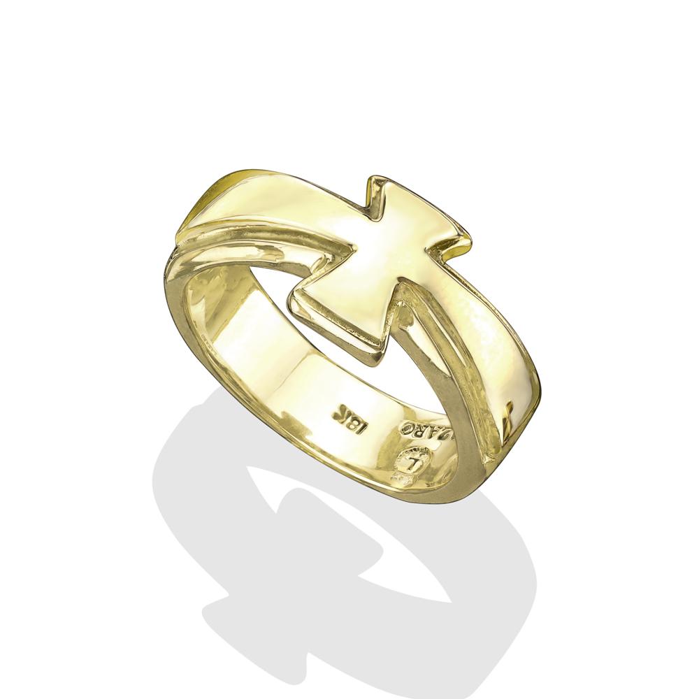 18k gold cross ring
