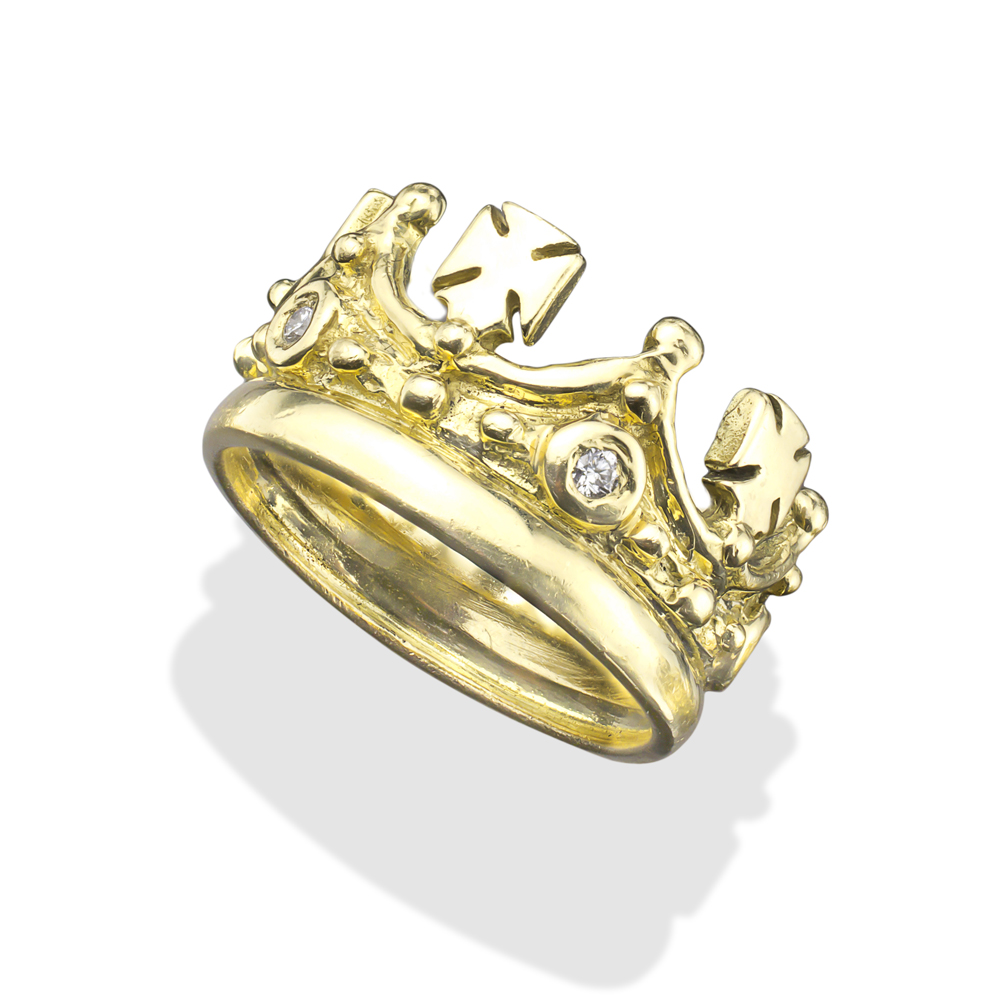 Mens Black Crown Ring