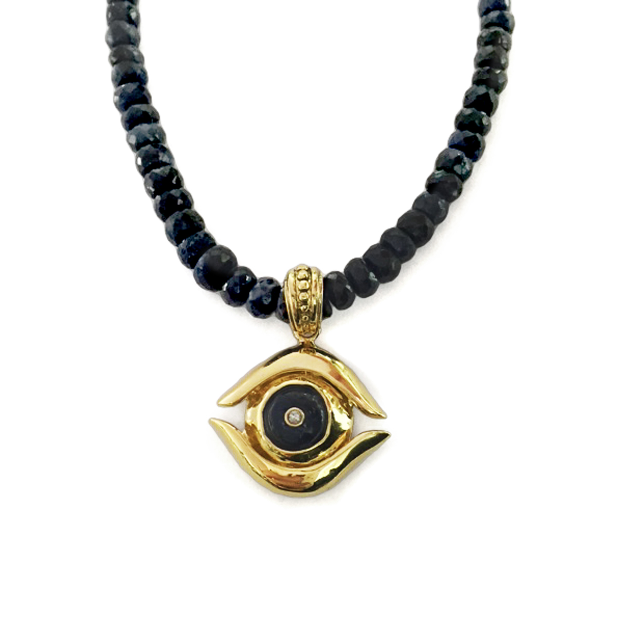 Gold & Sapphire Evil Eye Men s Necklace