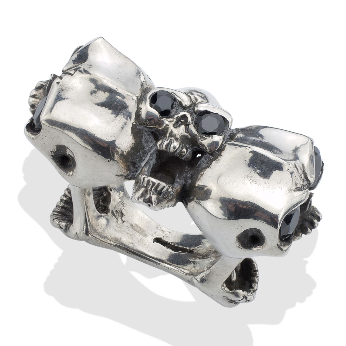 onyx on s silver screaming skull ring