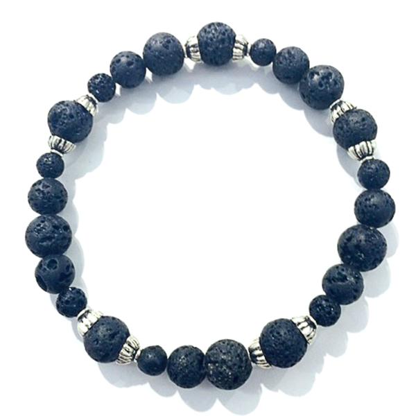 silver capped lava bead bracelet