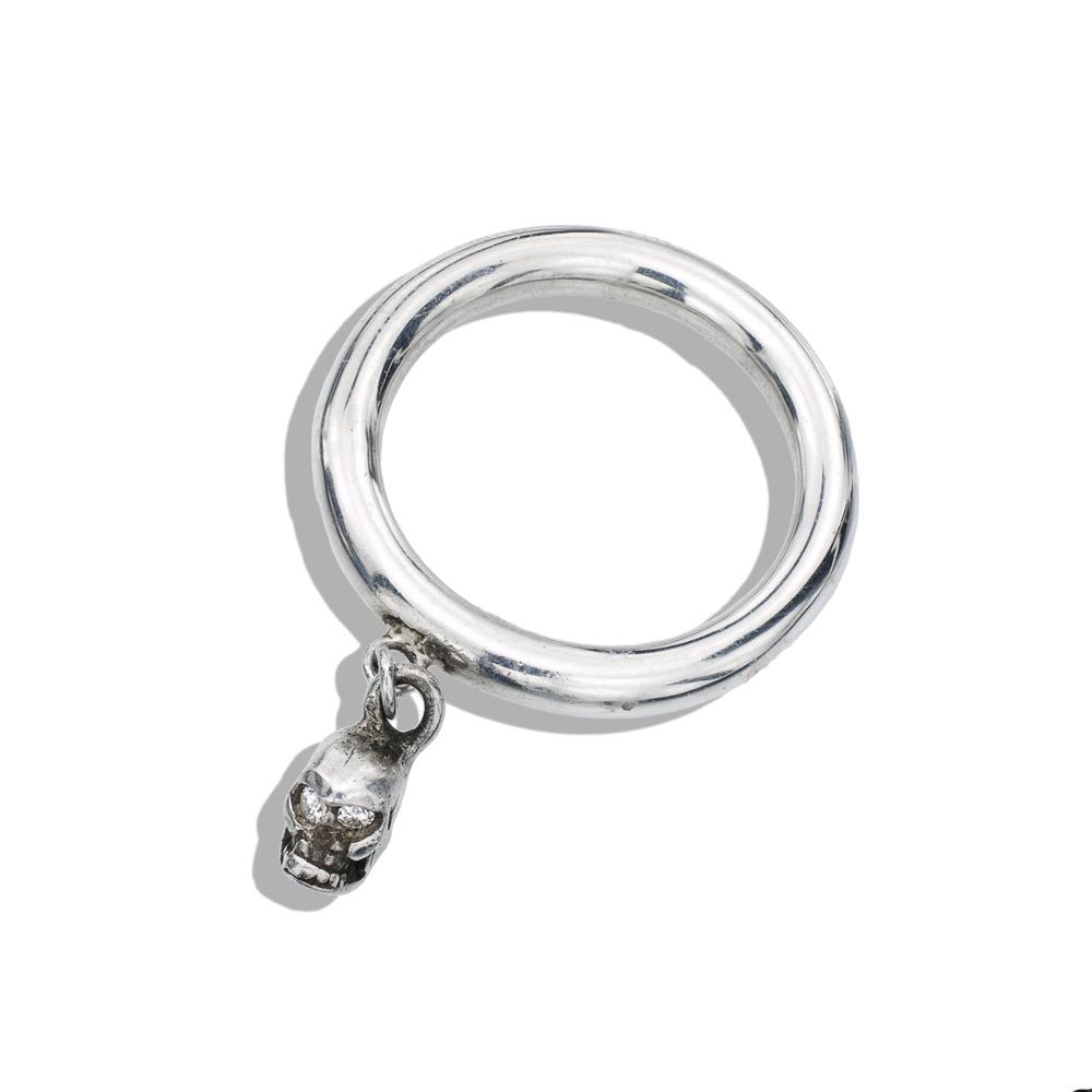 silver s skull ring