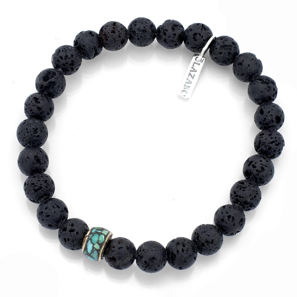 silver turquoise lava bead bracelet