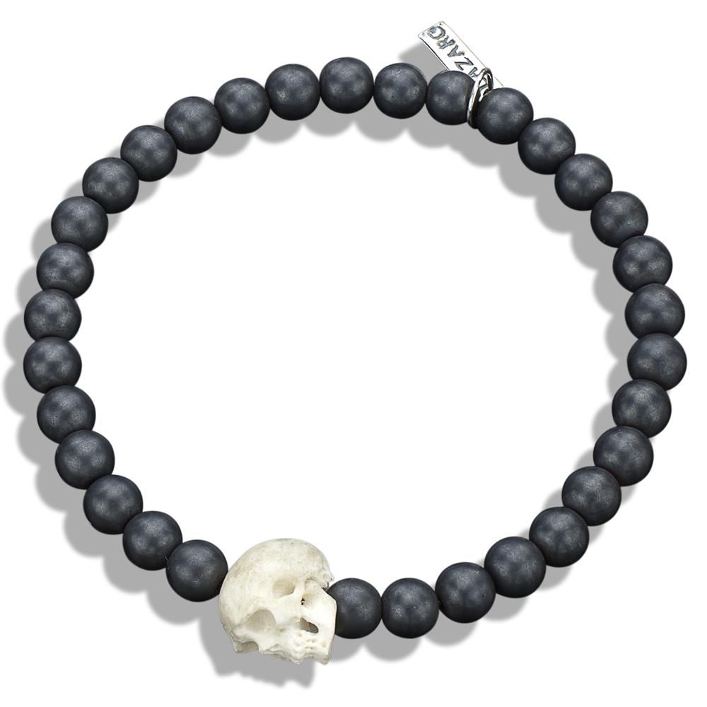 bone skull hematite bead bracelet