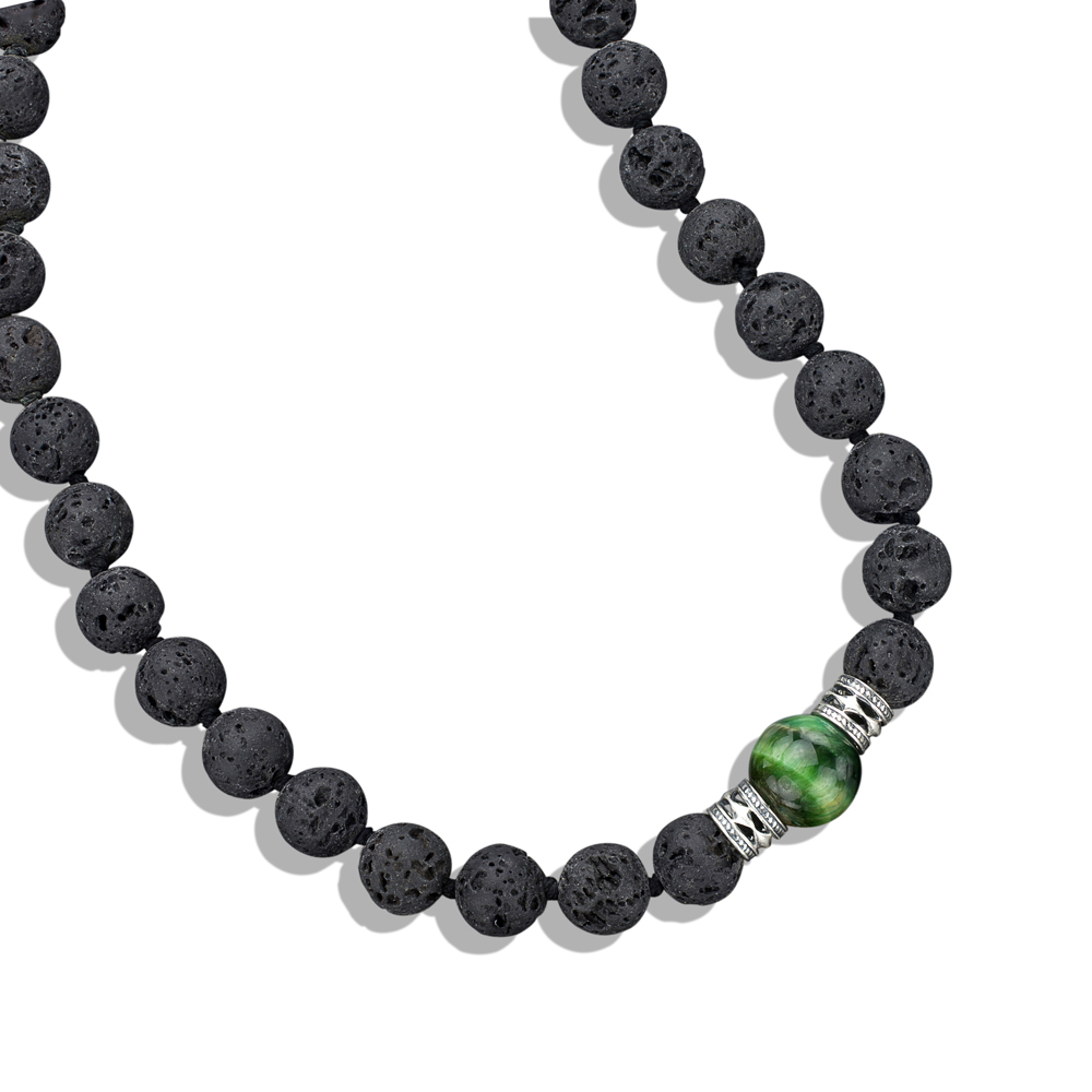 tigers eye silver lava bead necklace
