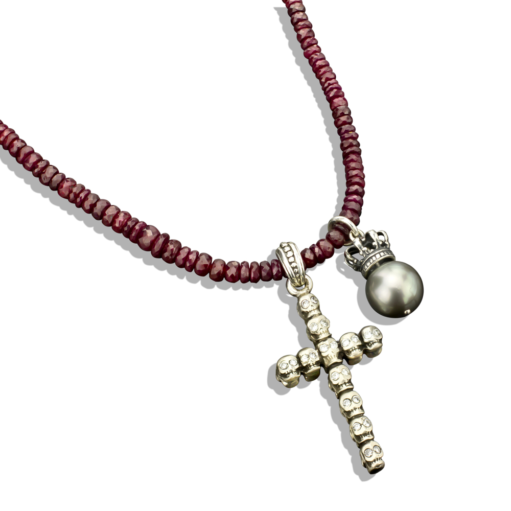 sided silver skull cross pearl crown on faceted