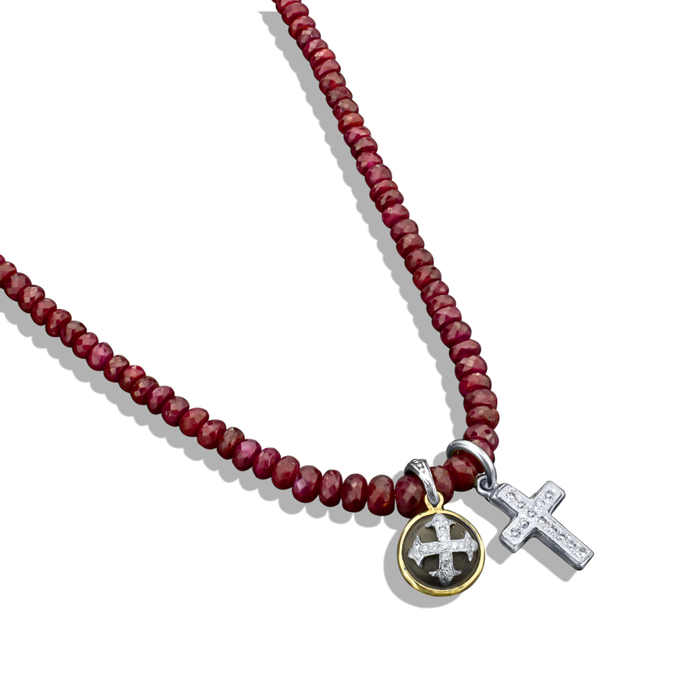 two crosses on faceted ruby bead necklace
