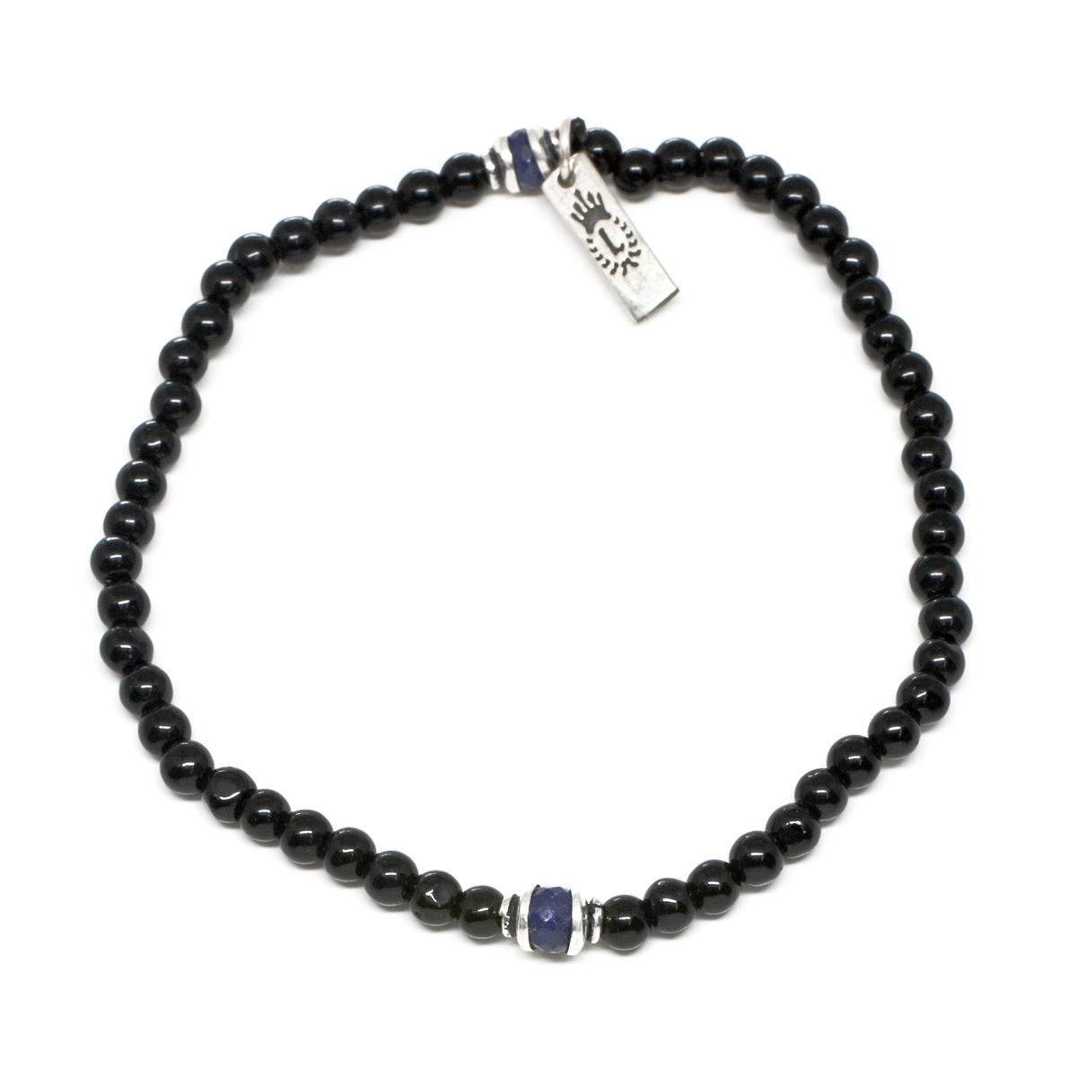 yx & Sapphire Men s Beaded Bracelet