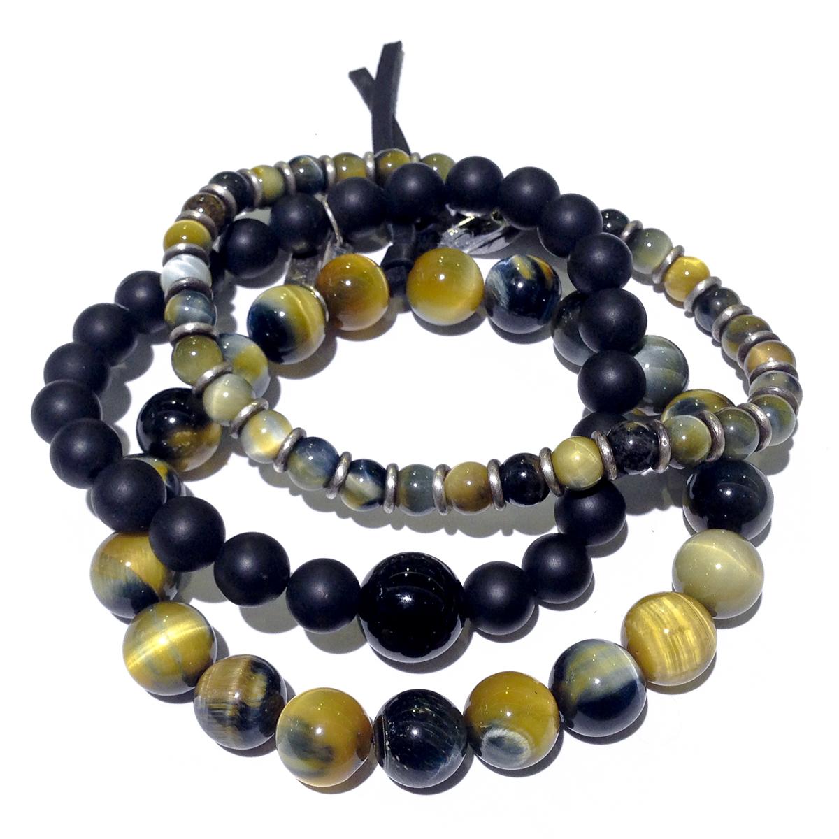 Tiger's Eye & Onyx Men's Stacked Bracelets