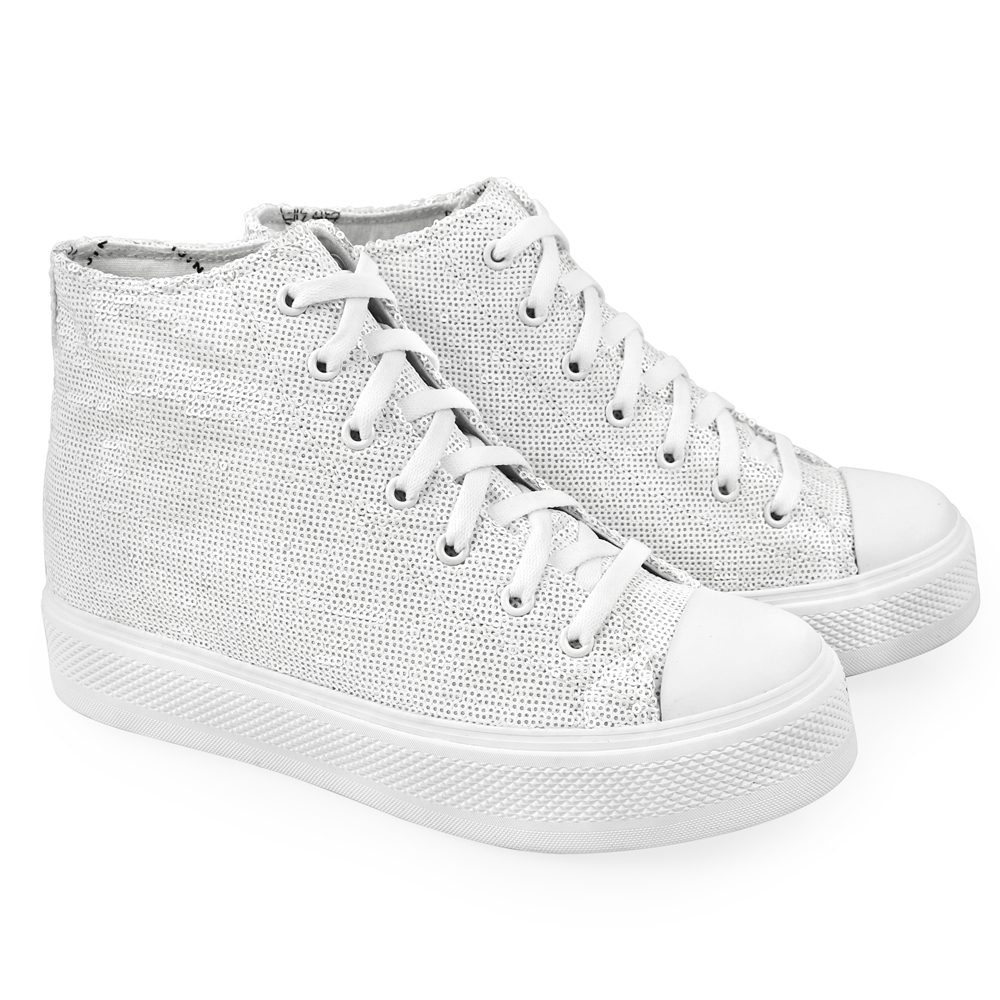s white sequined high top iijin tennis shoes