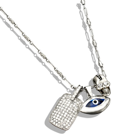 Skull, Evil Eye & Dog Tag charms On Silver Necklace