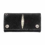 Fleur De Lis and Black Sting Ray Leather Men's Wallet