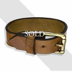 Large Buckle & Brown Leather Belt Bracelet