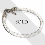 Silver & White Braided Leather Men's Bracelet