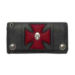 Black Leather and Red Sting Ray Maltese Cross Men's Wallet