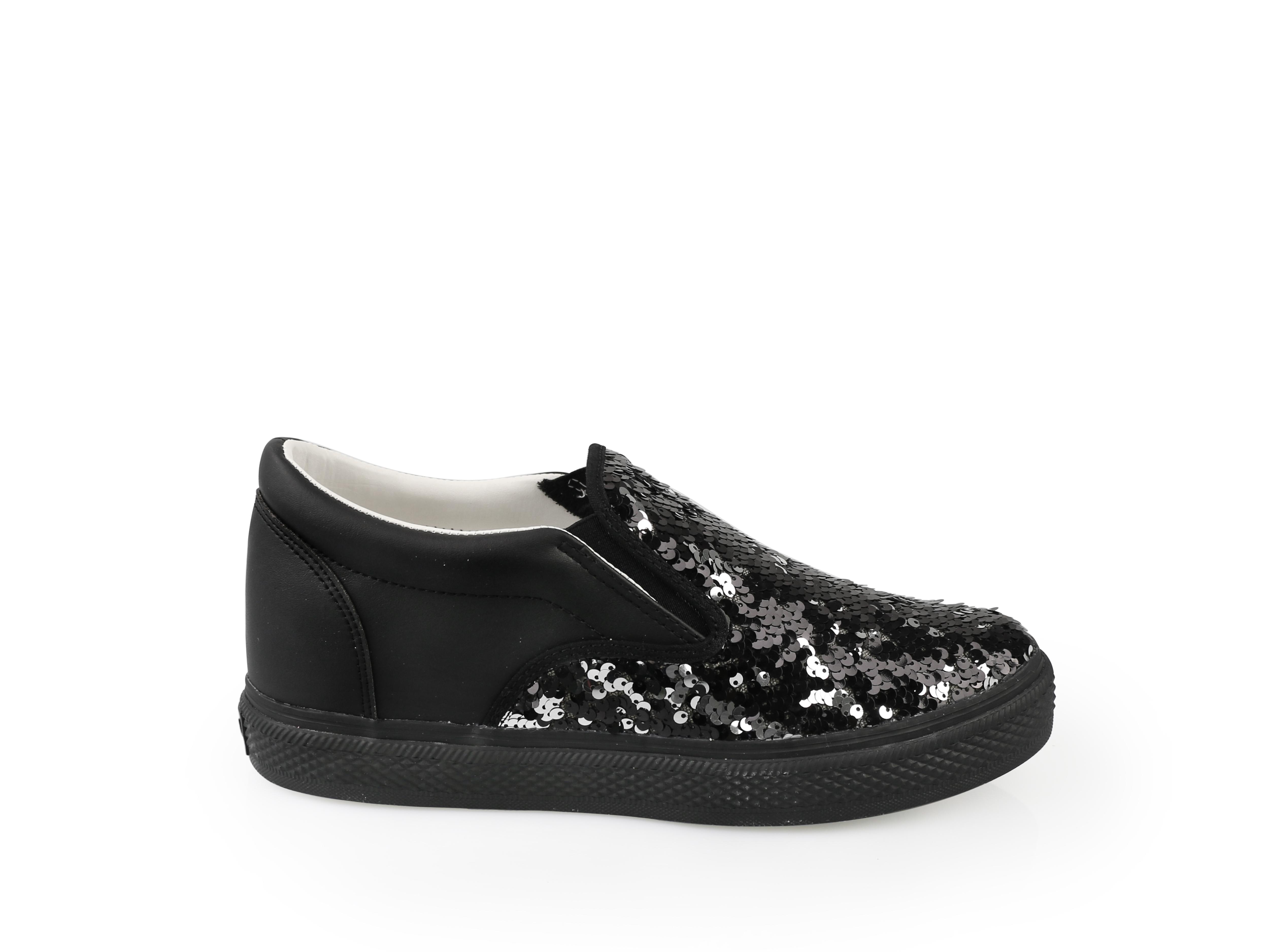 black sequined s slip on iijin tennis shoes