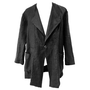Black Collarless Linen KMRii Jacket
