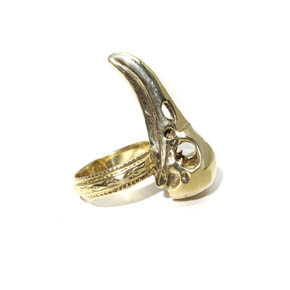 Brass Raven Skull Ring