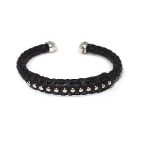 Silver Stud & Skull Bead Woven Leather Cuff