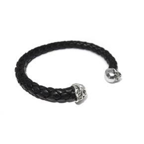 Skull Bead Black Woven Leather Cuff