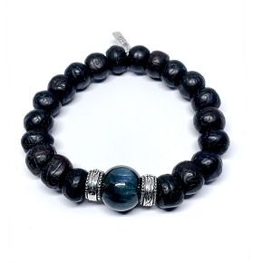 14mm Kyanite & Tibetan Prayer Bead Bracelet