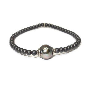 4mm Hematite & South Sea Pearl Bracelet