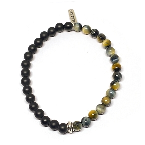 50/50 Black Agate & Tiger's Eye Men's Bracelet