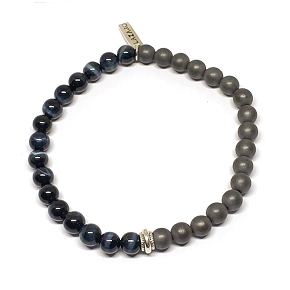 50/50 Hematite & Blue Tiger's Eye Men's Bracelet