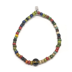 African Trade Bead & Gemstone Bead Bracelet