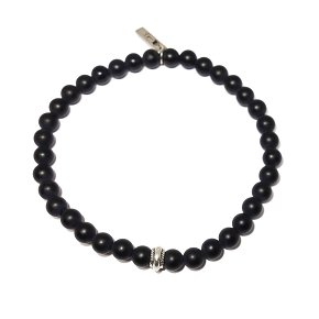 Black Agate with Silver Accent Bracelet