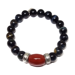 Carnelian Centerstone on Tiger's Eye Bracelet