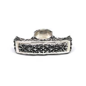 Carved Silver 3-Finger Ring