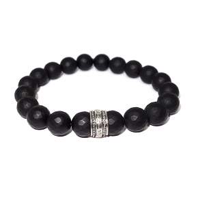 Faceted Matte Black Agate & Silver Bracelet