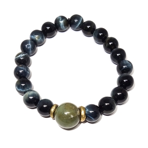 Jade & Blue Tiger's Eye Beaded Bracelet