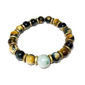Jade, Brass, & Golden Tiger's Eye Bracelet
