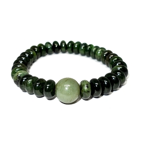 Jade Center & Rondelle Stretch Bracelet