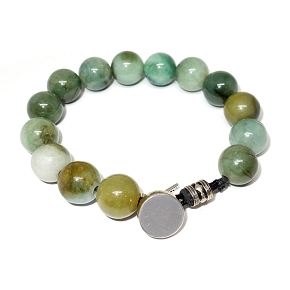 Jade & Silver Button Closure Bracelet