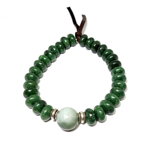 Jade & Silver Rondelle Leather Bracelet
