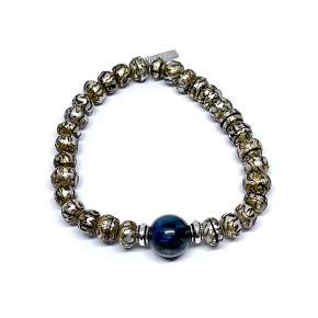 Kyanite & Carved Pearl Bracelet