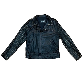 Lenny Turk Gold Poe Script Stretch Leather Biker Jacket